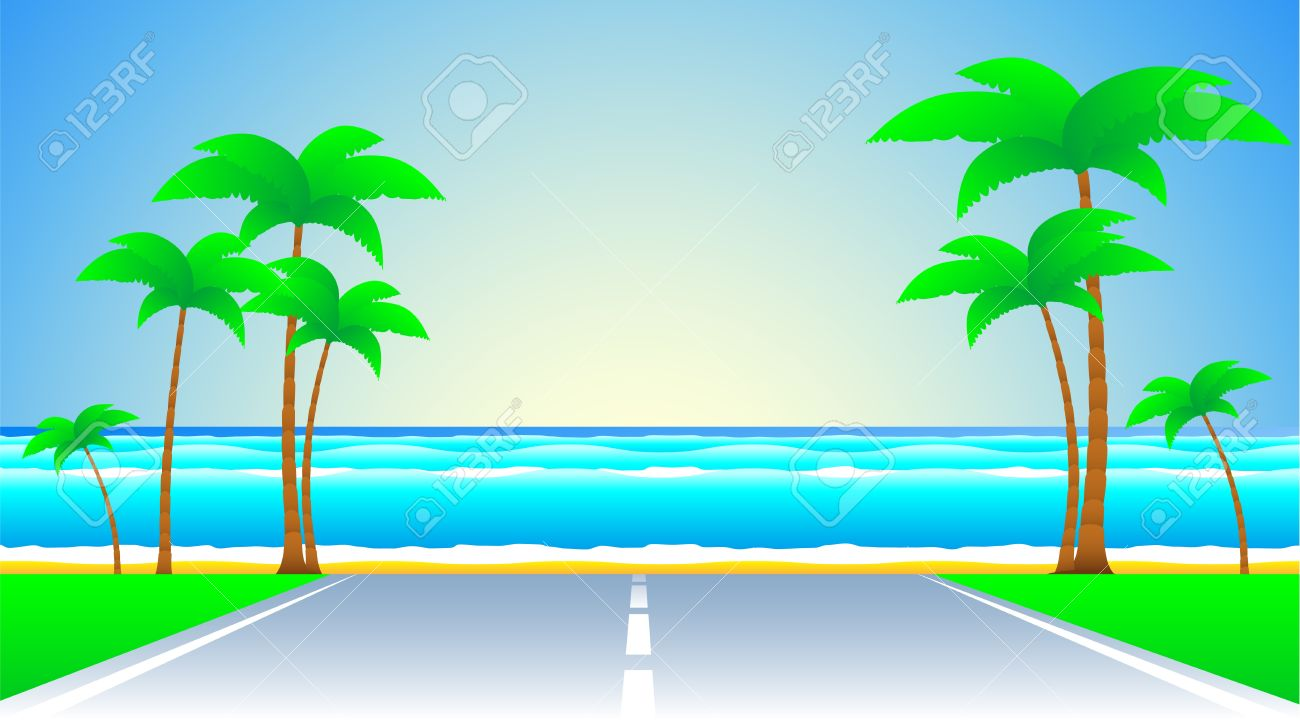 background with road and a tropical landscape - 12948763