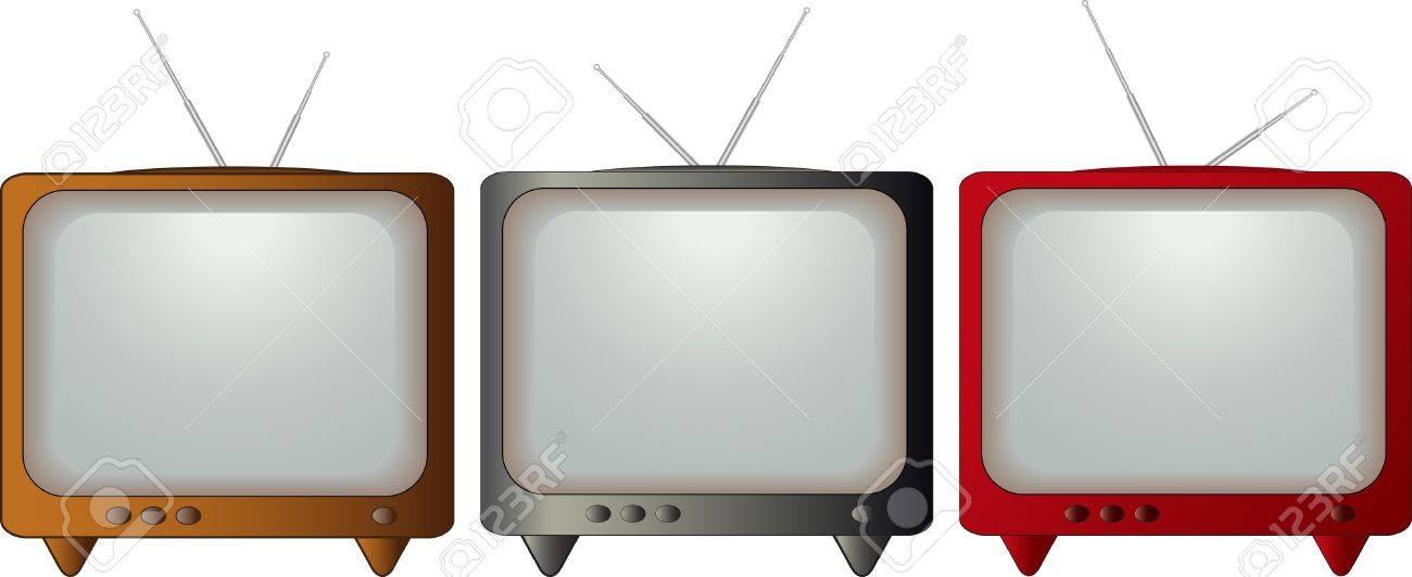 set isolated colorful retro TV - 12948762