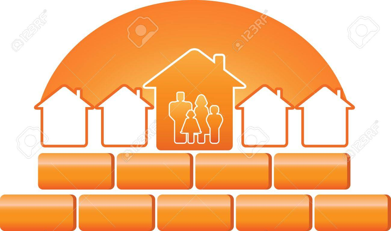 family silhouette and construction sign with bricks and sun Stock Vector - 12948689