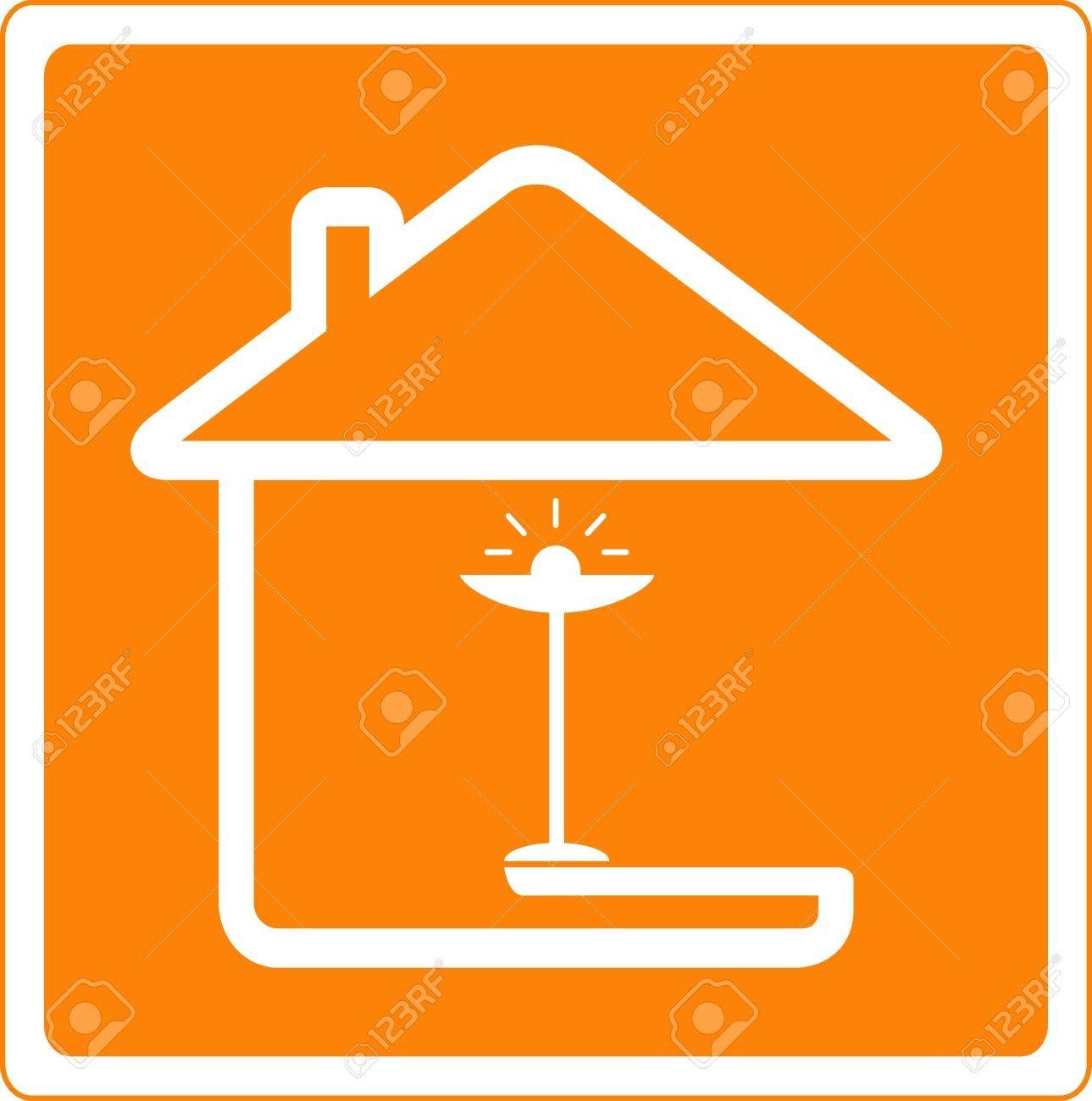 icon with house silhouette and floor lamp Stock Vector - 13180365