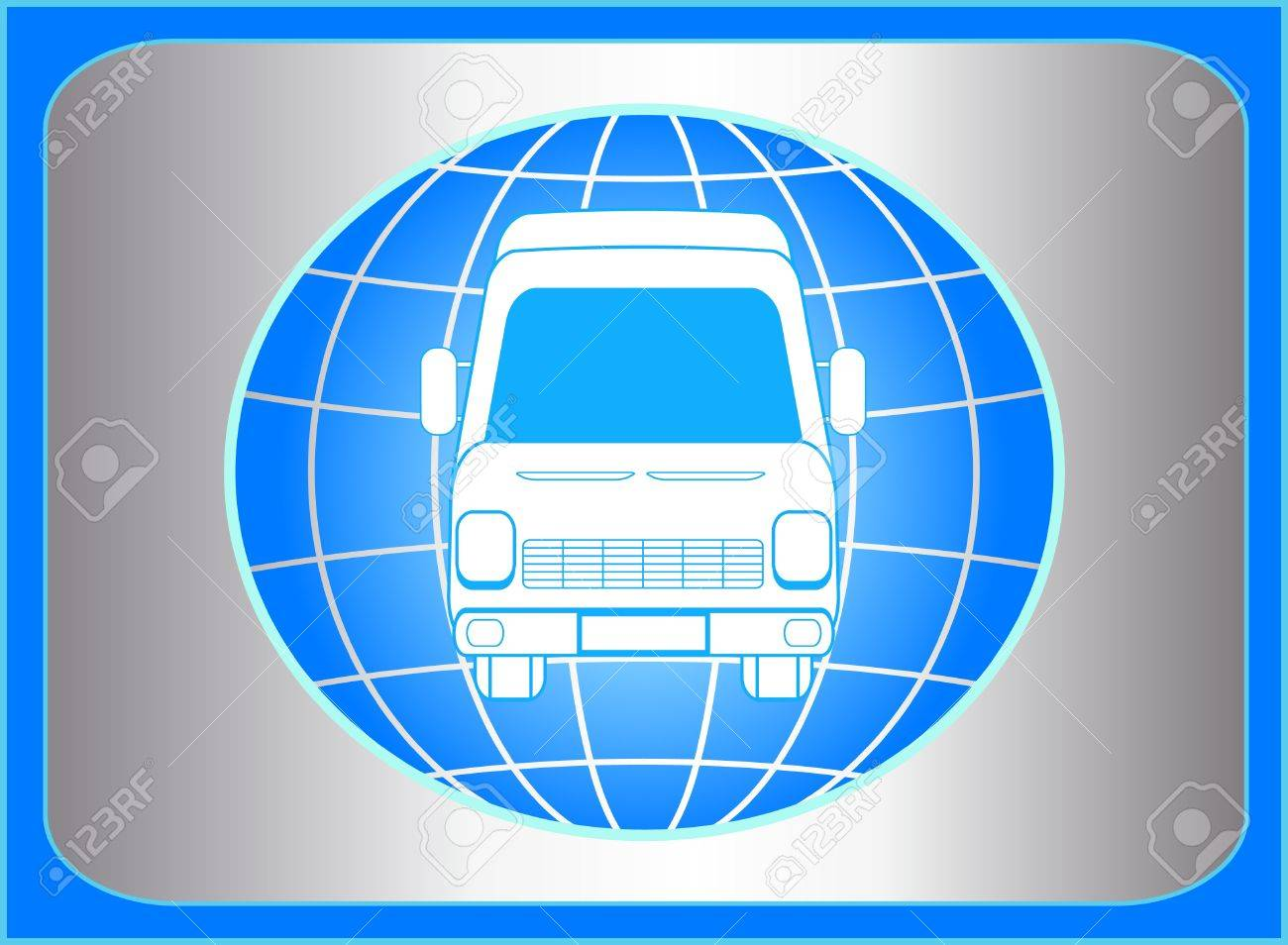 blue sign with planet and mini bus silhouette Stock Vector - 13291357