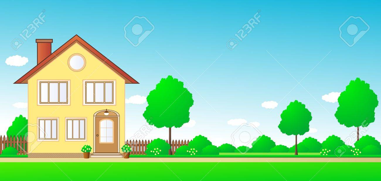 nature landscape with cottage and sky with space for text - 13552586