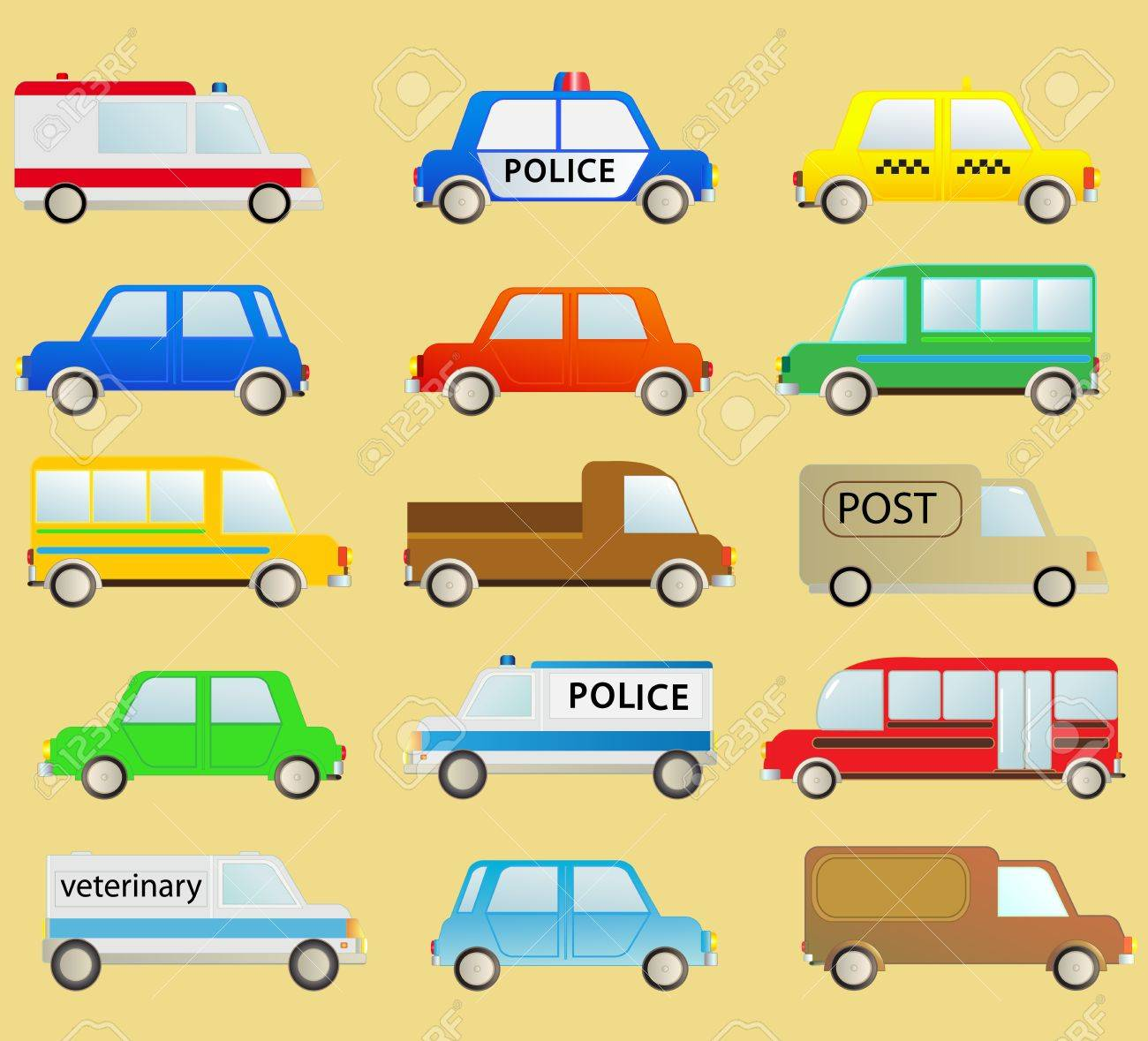 cartoon transport set with many isolated colorful urban cars Stock Vector - 13621175