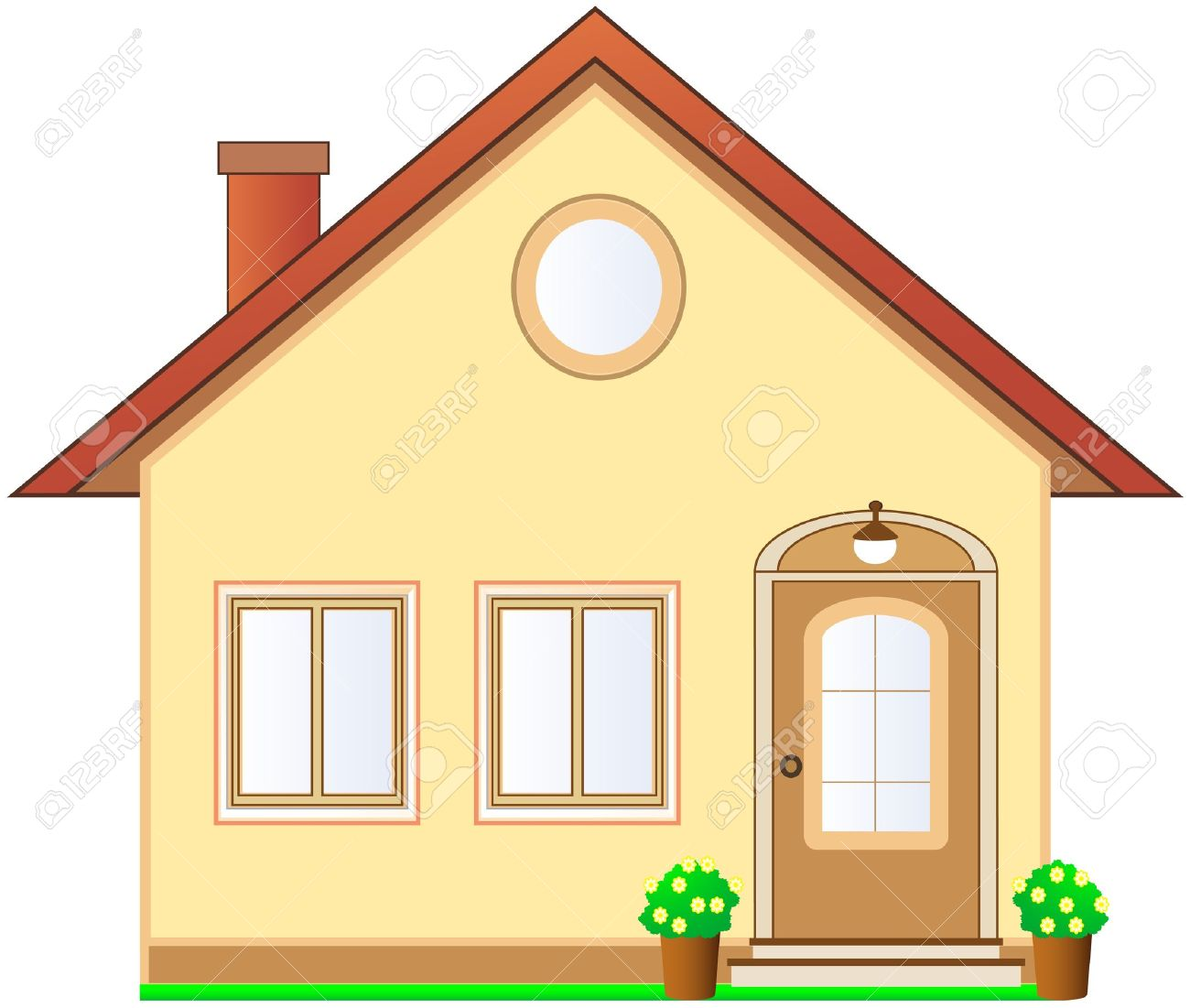 beautiful isolated cottage with attic on white background - 13913433