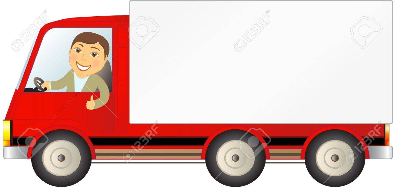 isolated cargo truck with man showing thumb up and space for text - 14059383