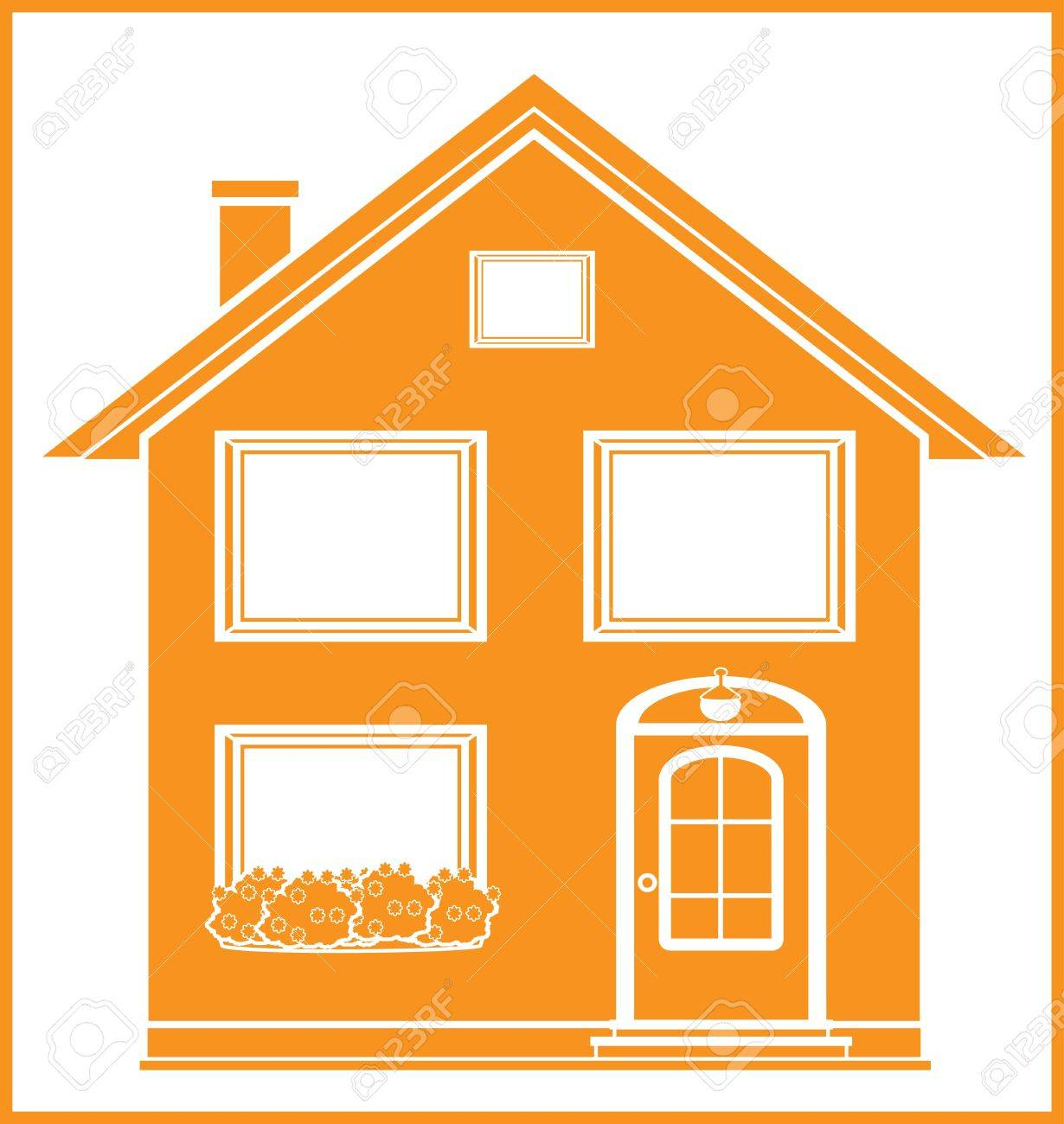 real estate symbol with isolated house silhouette in frame Stock Vector - 14059385