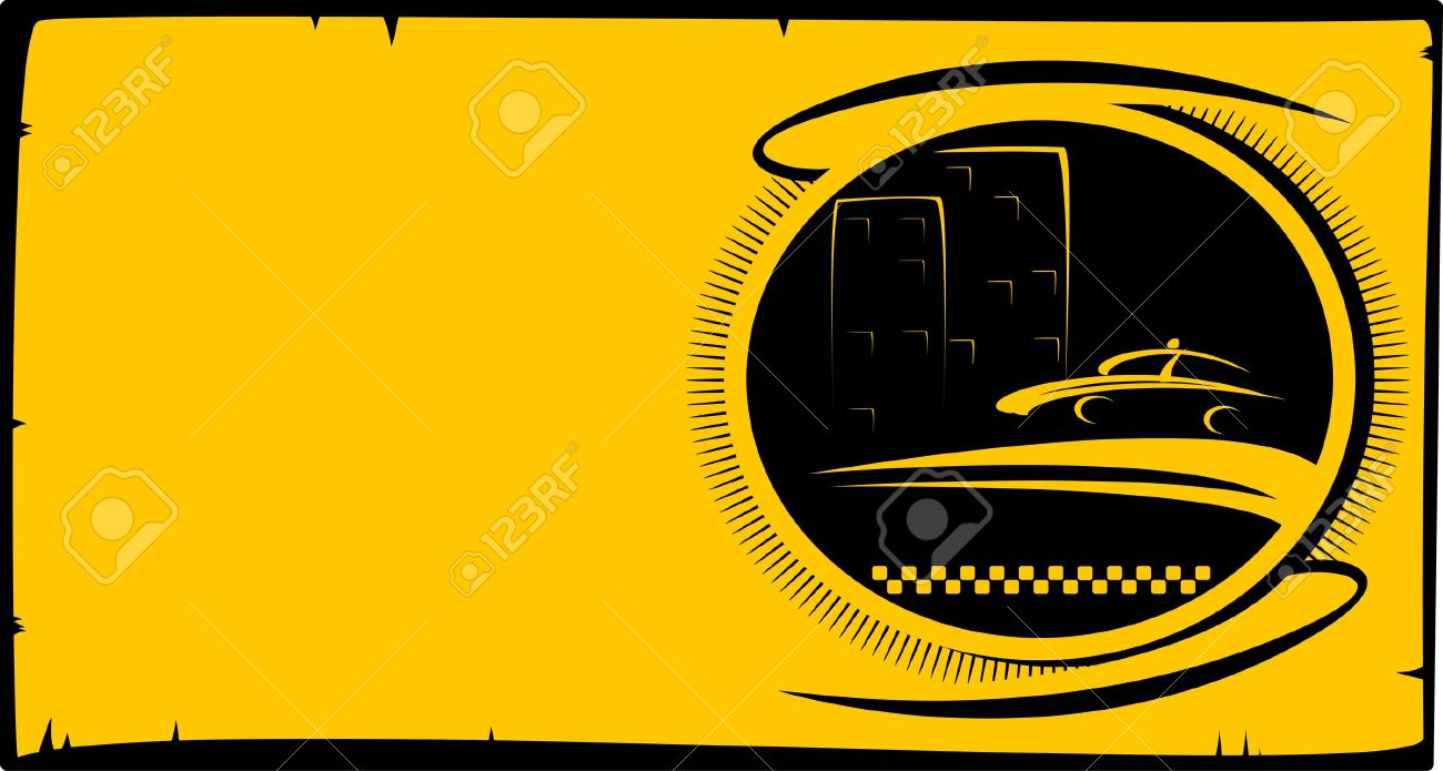 Visiting Card Background With Taxi Button With Cab Silhouette ...