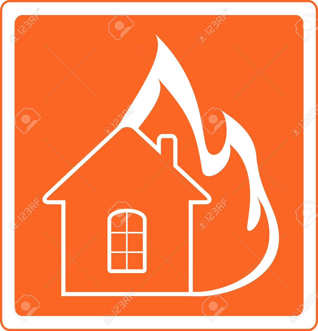 red warning sign with house fire Stock Vector - 14172978