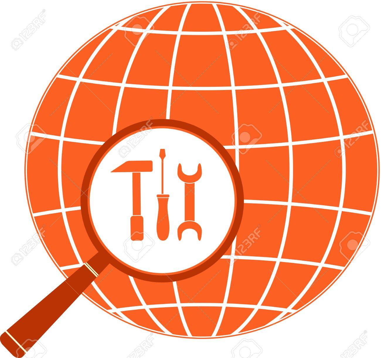 red icon with screwdriver hammer and wrench in magnifier Stock Vector - 14510312