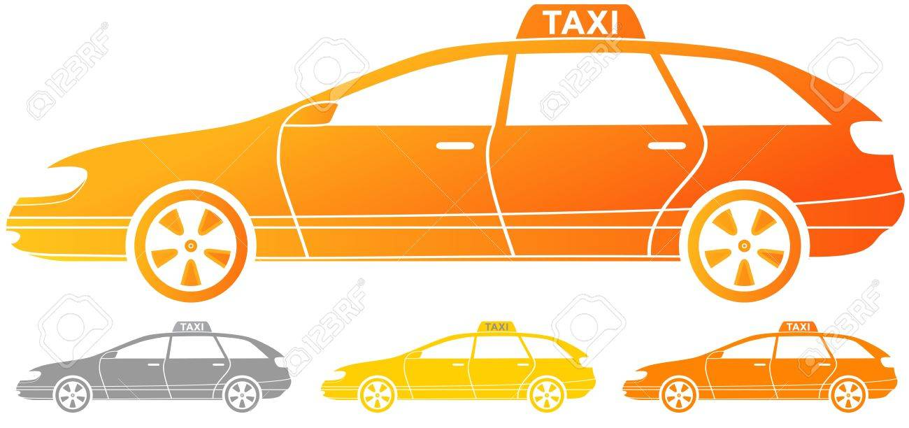 set of isolated taxi cab silhouette Stock Vector - 14510317