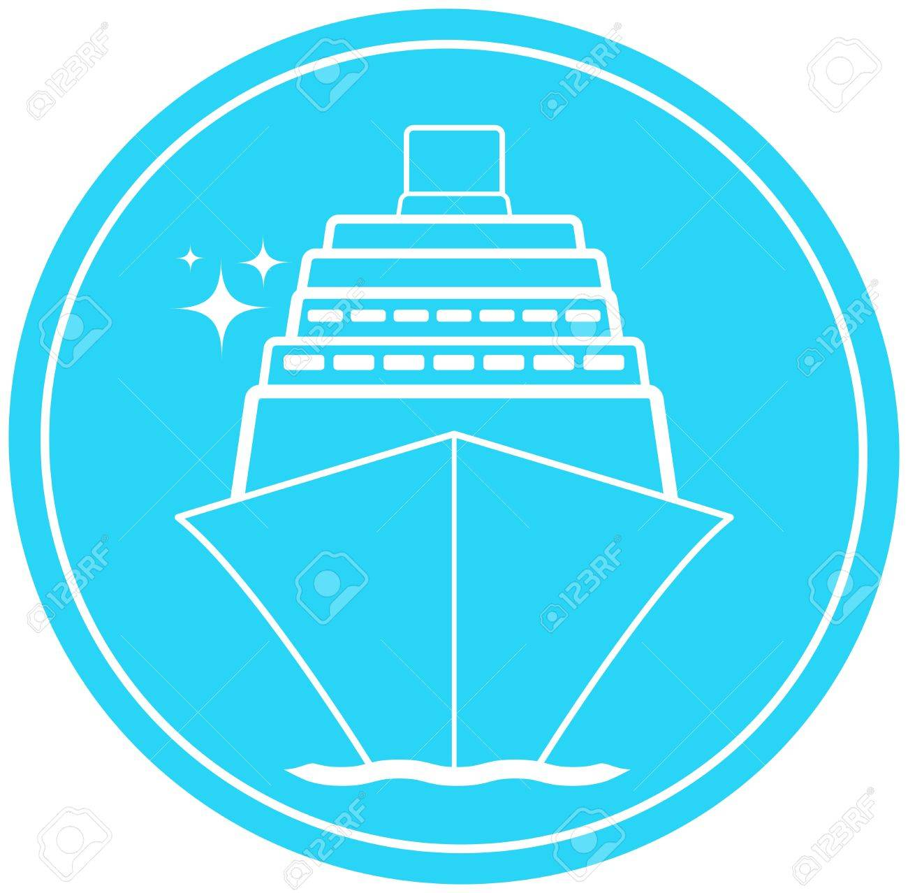 blue sea sign with ship in round and star Stock Vector - 14723546