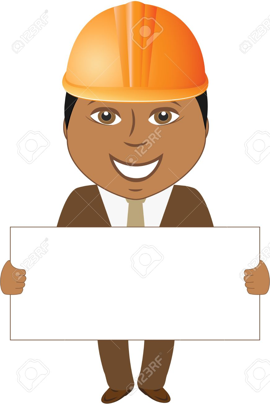 cartoon smile afro builder engineer with blank for text Stock Vector - 14723527
