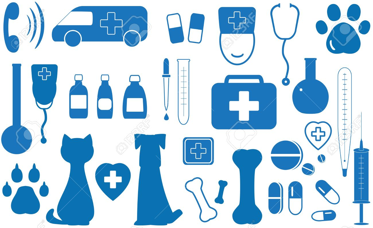 Blue Icon Set Veterinary Objects Royalty Free Cliparts, Vectors ...