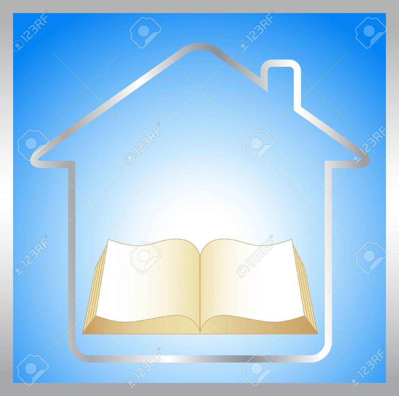 sign with book, house and sunrise - symbol education - 15607707