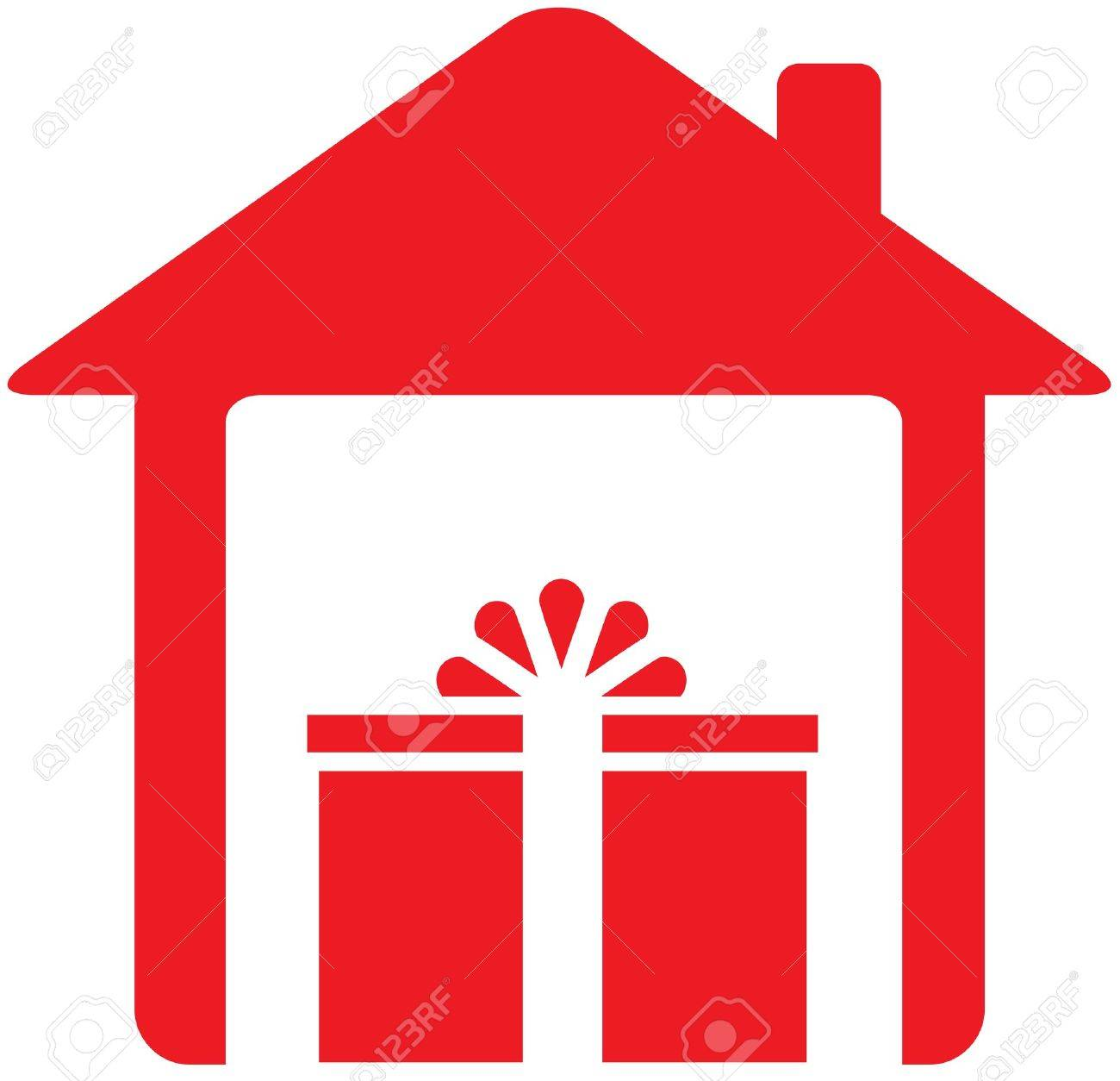 red sign with house and holiday gift Stock Vector - 15824739