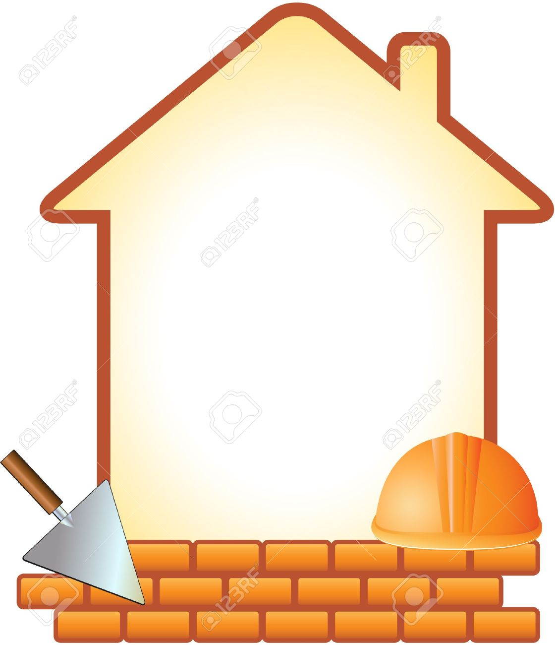 icon with helmet, trowel, bricks and house with space for text - 15824749