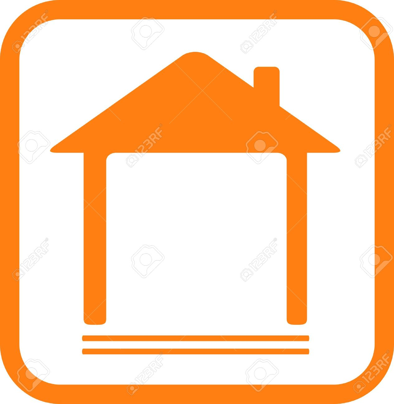 red icon with home silhouette and place for text - 16111347