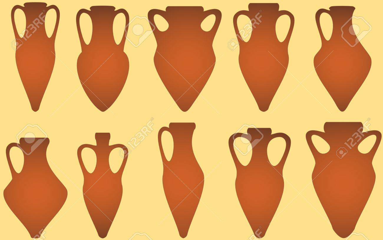 set isolated yellow antique amphora on white background Stock Vector - 16218141
