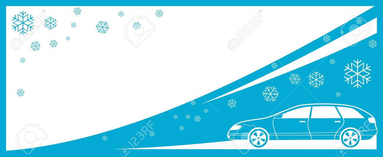 winter background with car and snowflake and place for text Stock Vector - 16458625