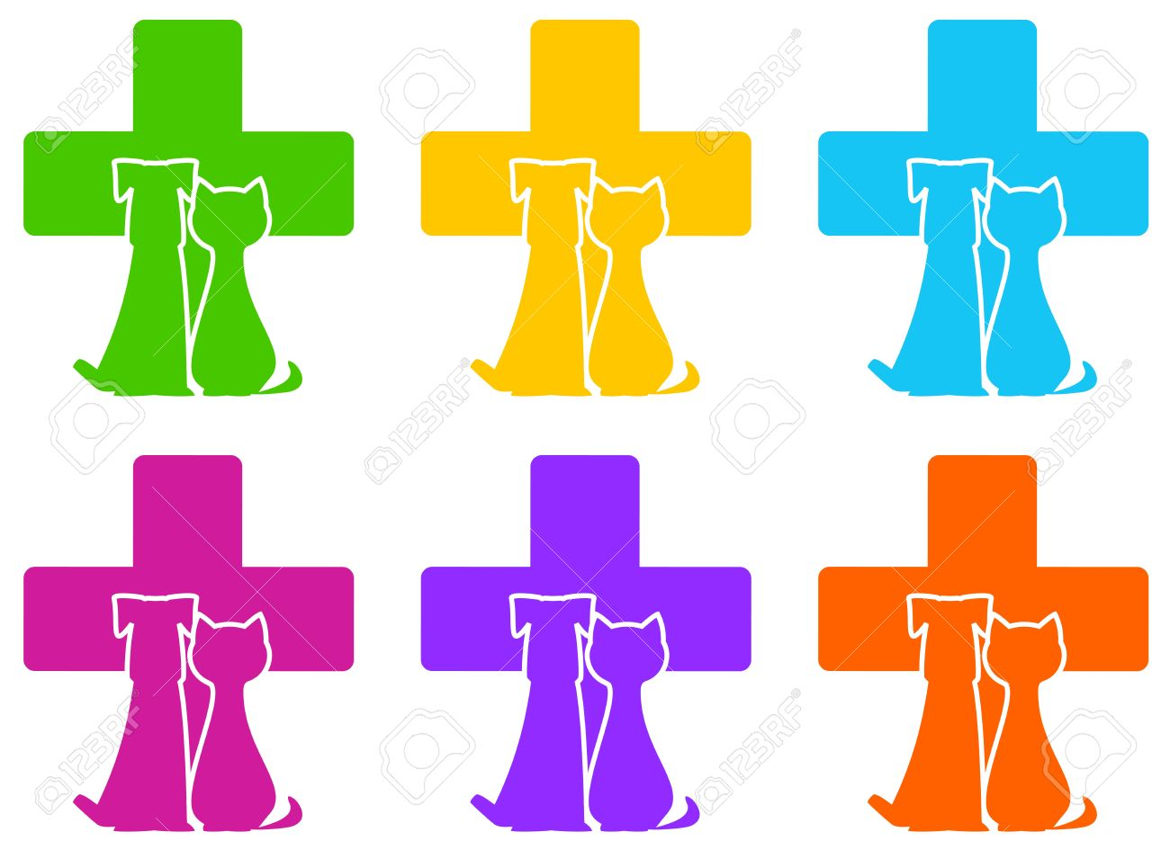 set color veterinary icon with medicine symbol and pet Stock Vector - 16802829