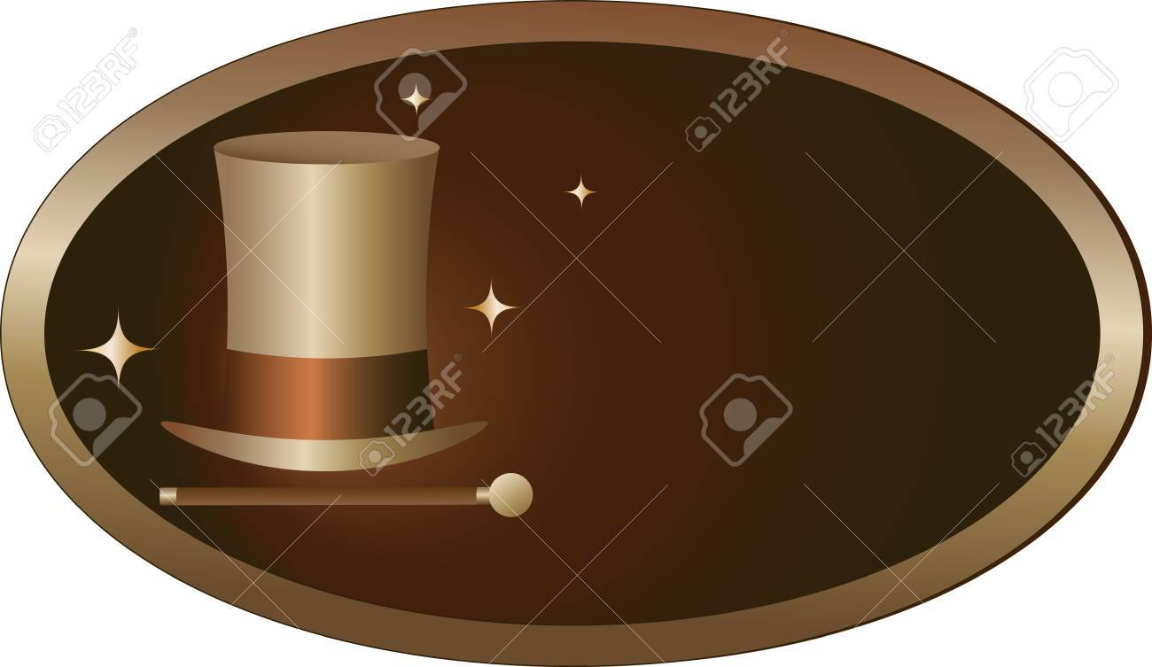 hat with cane in frame - symbol of theatrical performance Stock Vector - 17035230