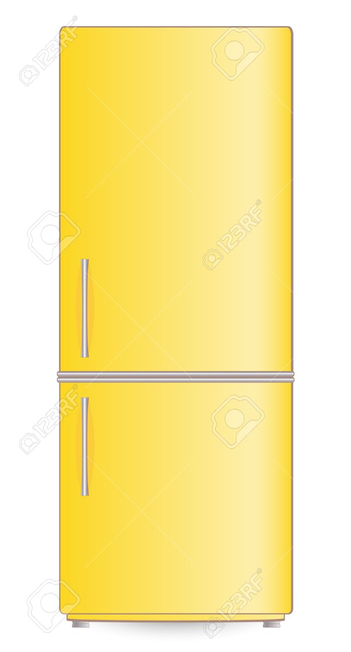 isolated yellow modern refrigerator Stock Vector - 17035228