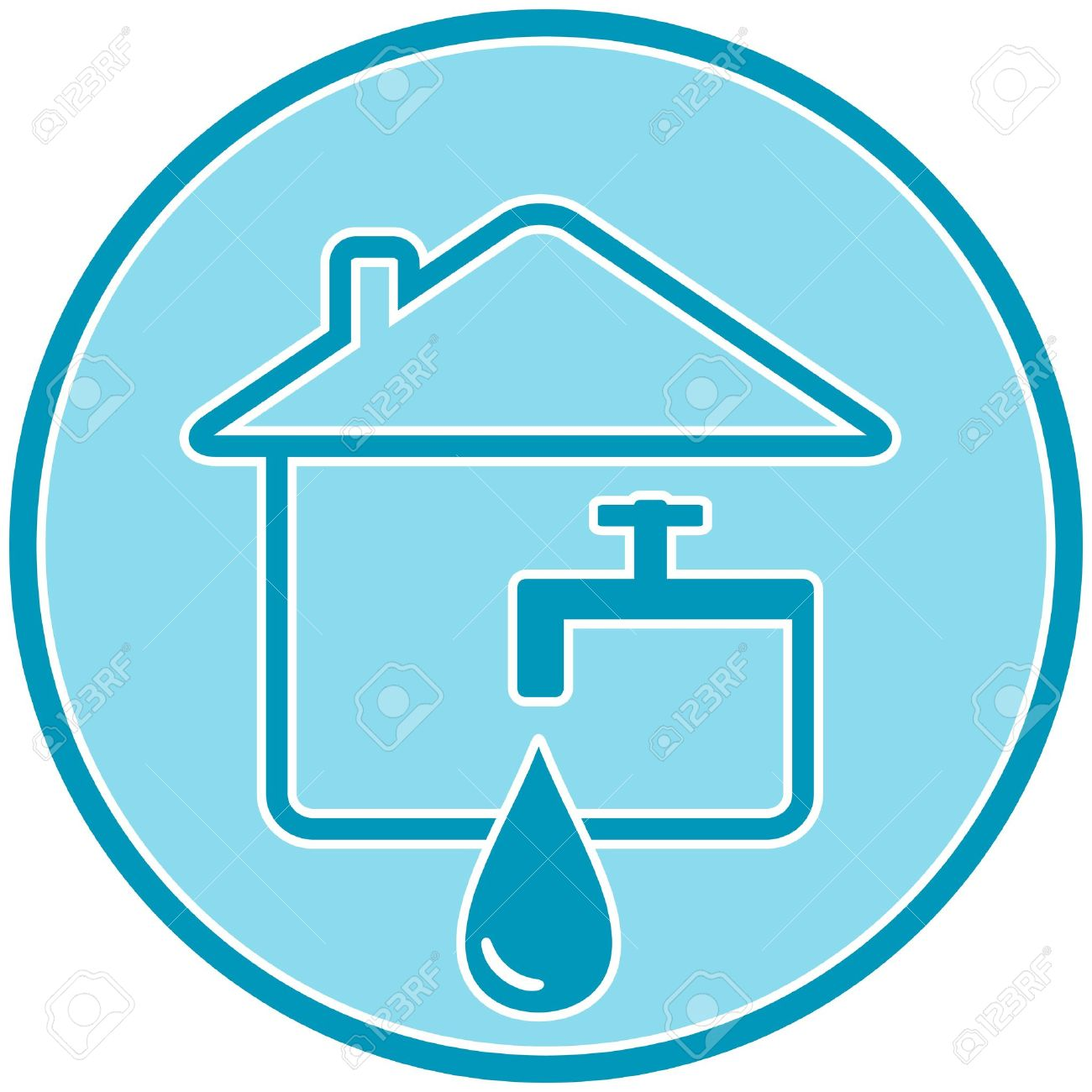 blue icon with drop, faucet and house silhouette Stock Vector - 17035231