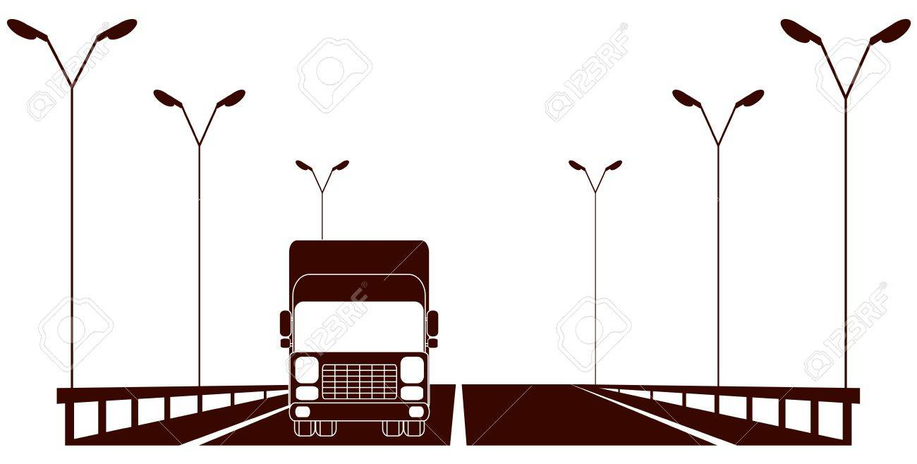 isolated cargo symbol with highway and moving lorry Stock Vector - 17357719