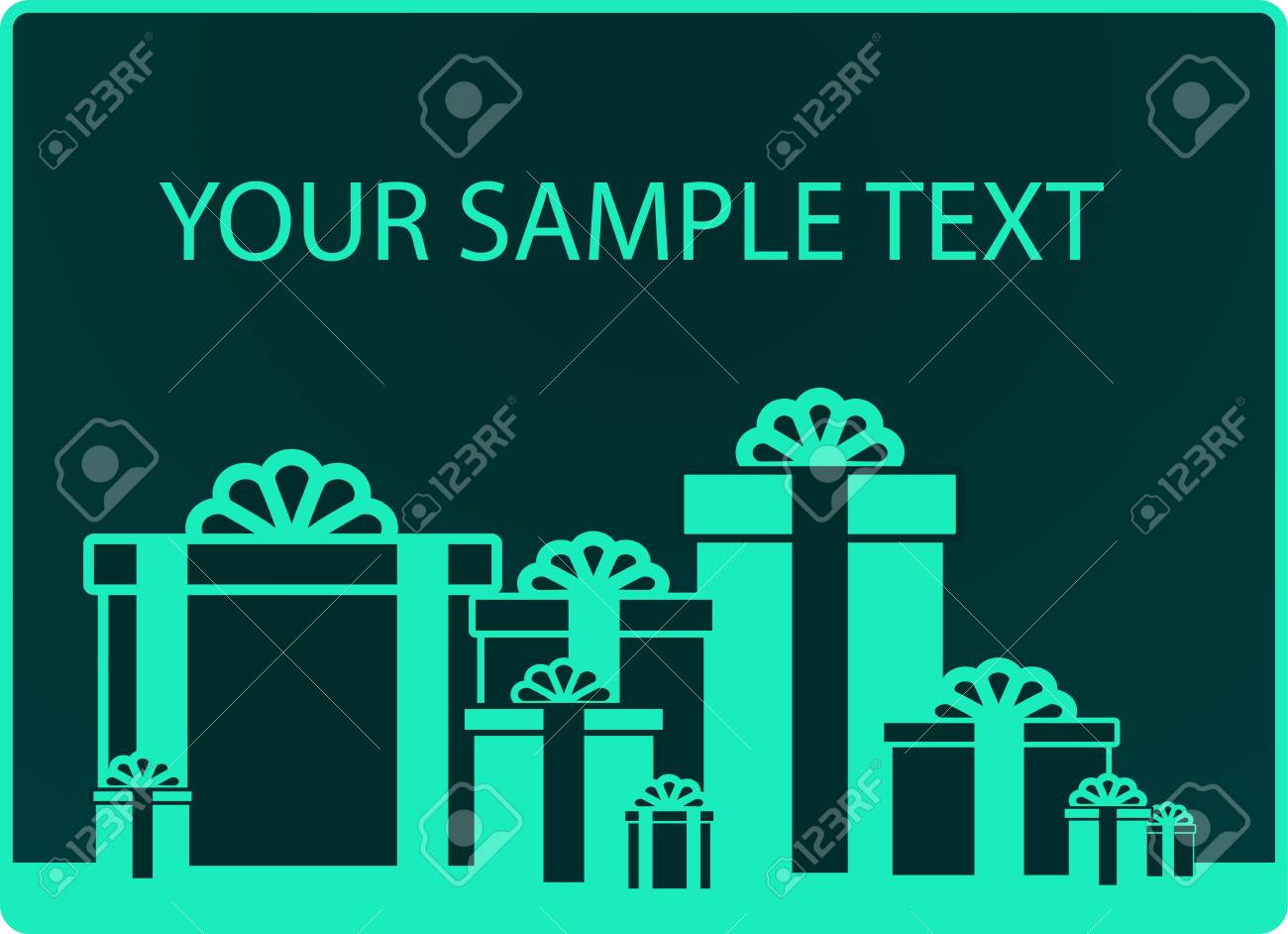 green background with many gift and sample text Stock Vector - 17666659