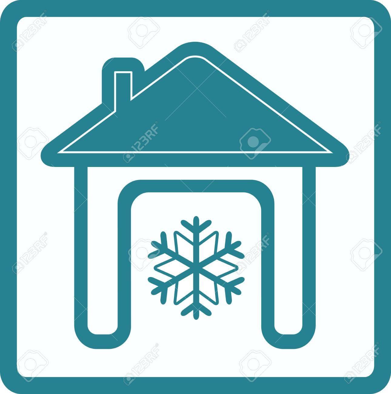 Maison avec flocon de neige - symbole de conditionnement à domicile