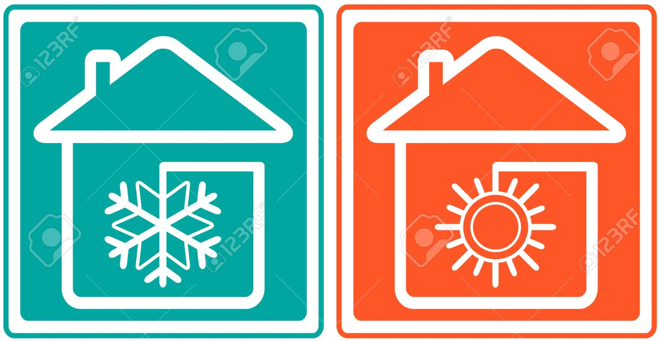 house with snowflake and sun home conditioner symbol - climate control - 17818727
