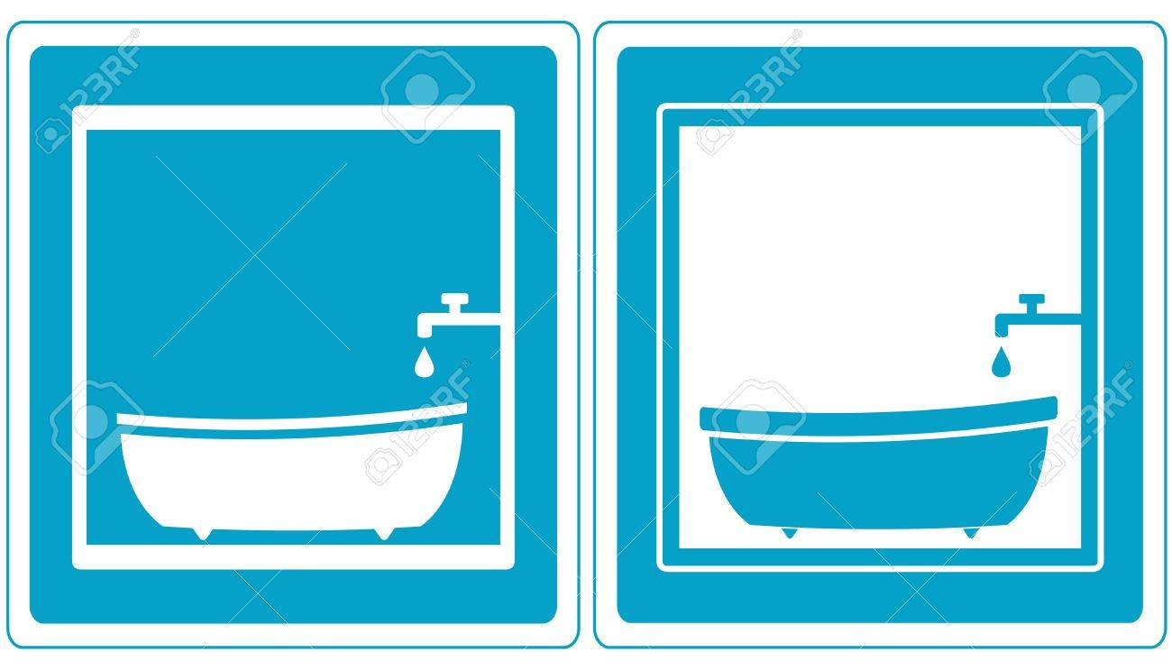 Set Blue Bathroom Symbol Icons With Tap, Tub And Bathtub Royalty ...