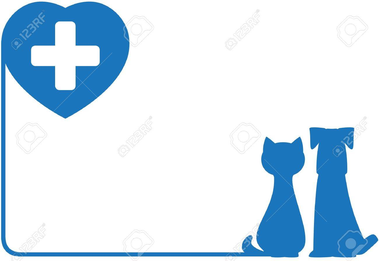 blue abstract icon with dog, cat and heart - 18496831