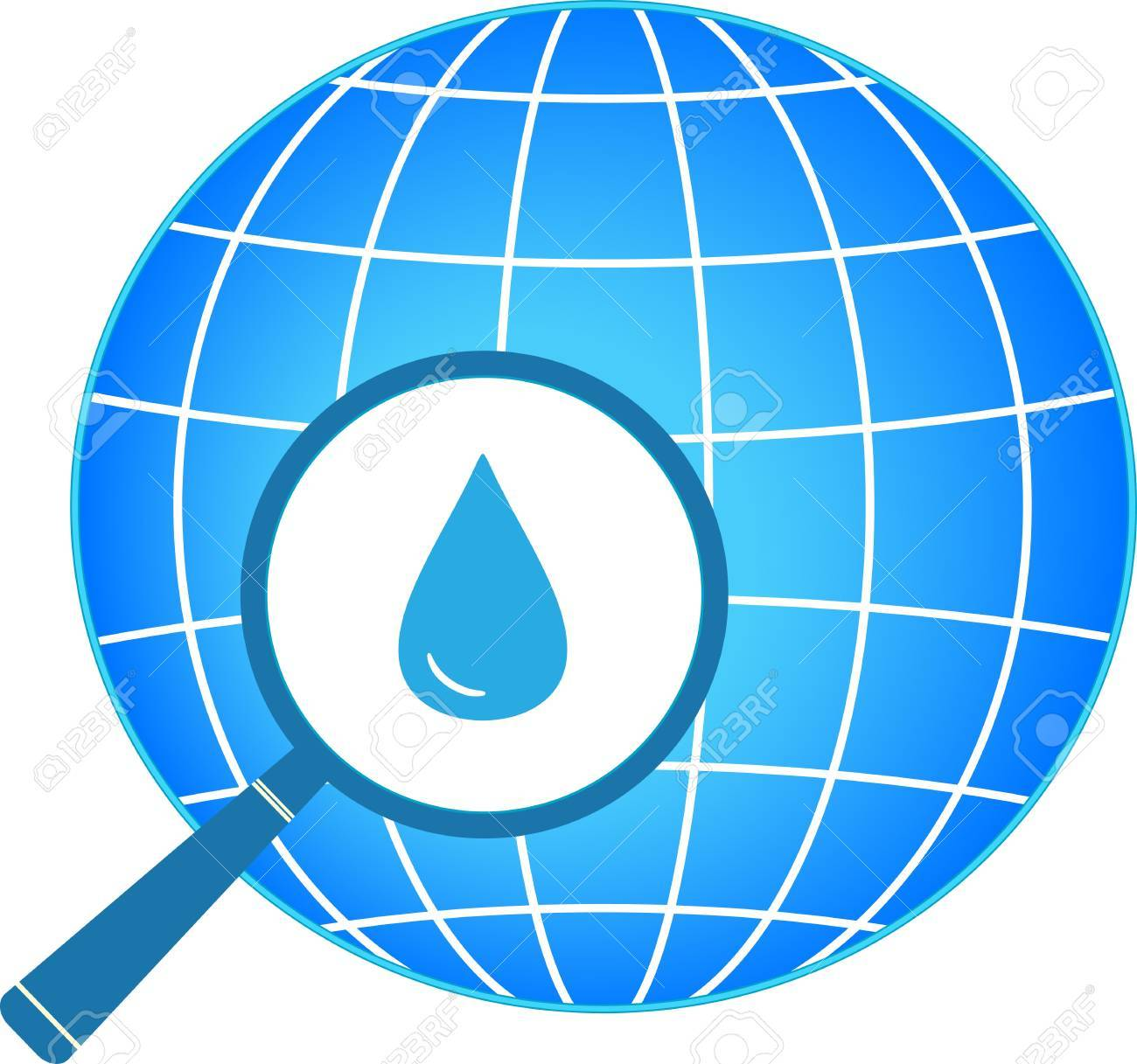 icon with blue planet, magnifier and drop silhouette Stock Vector - 18676910