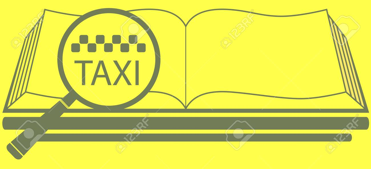 yellow reference book with magnifier and taxi symbol Stock Vector - 18752941