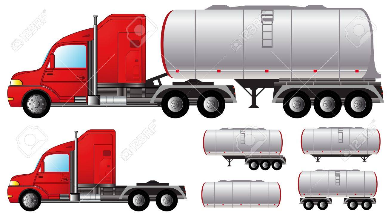 set isolated objects with tank truck and fuel tanks - 19424537