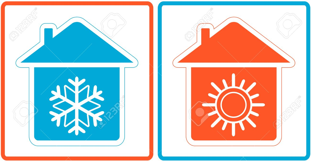 air conditioning symbol - warm and cold in home - 21205523