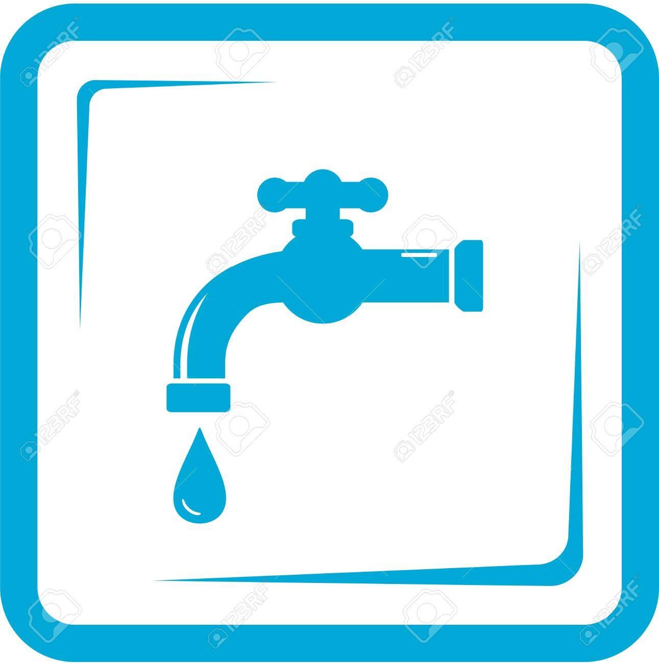 Llave Azul En Marco - El Agua Del Grifo Y El Símbolo Lavabo ...