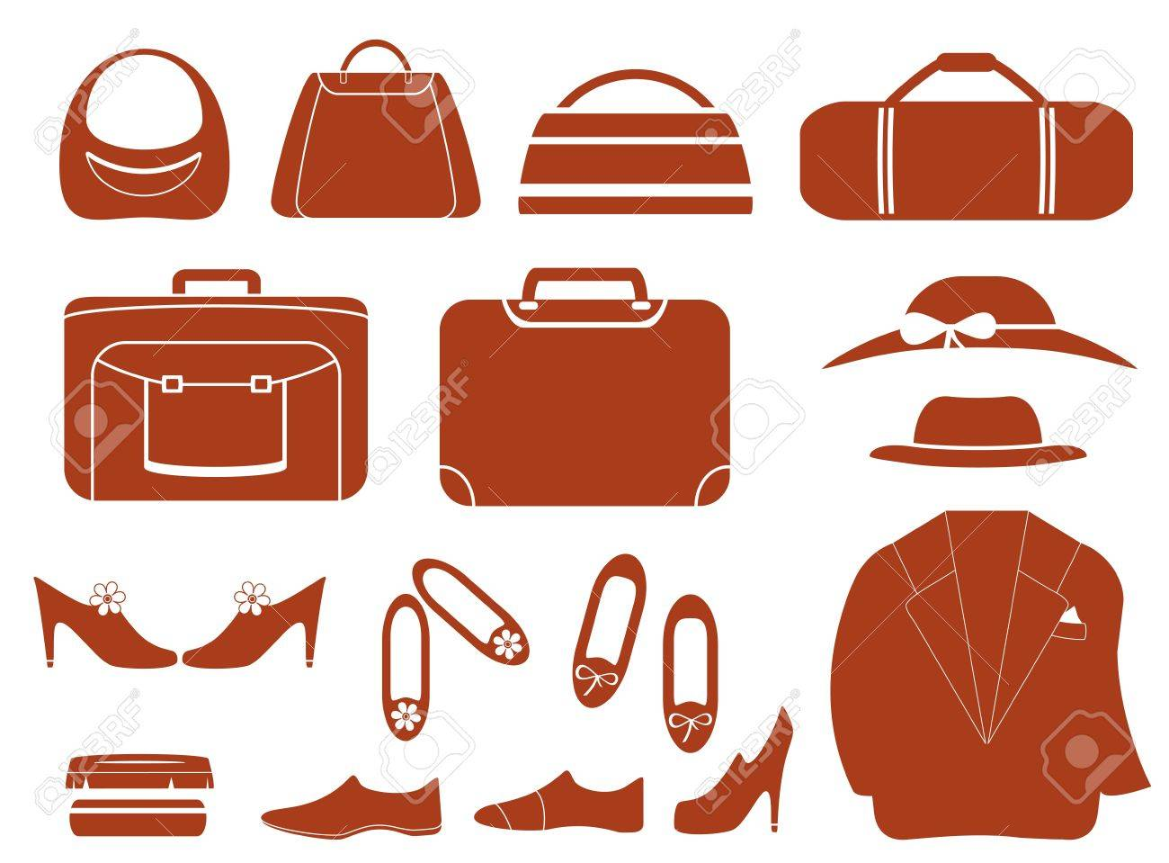 set isolated objects - clothes, bags and shoes Stock Vector - 21912016