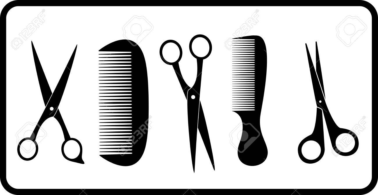 Black Isolated Scissors And Comb Silhouette Royalty Free Cliparts ...