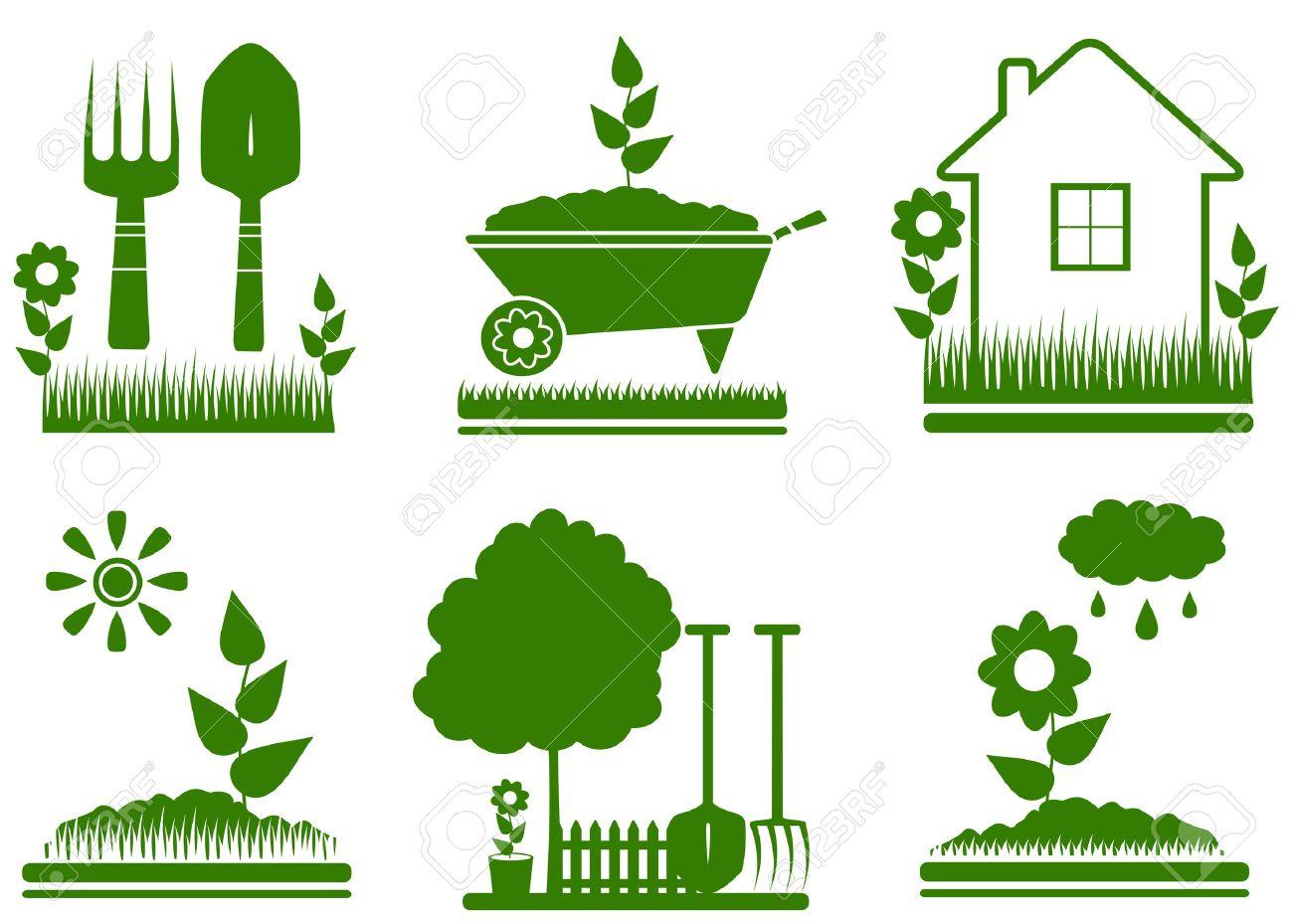 set green isolated garden landscaping symbols - 22445867