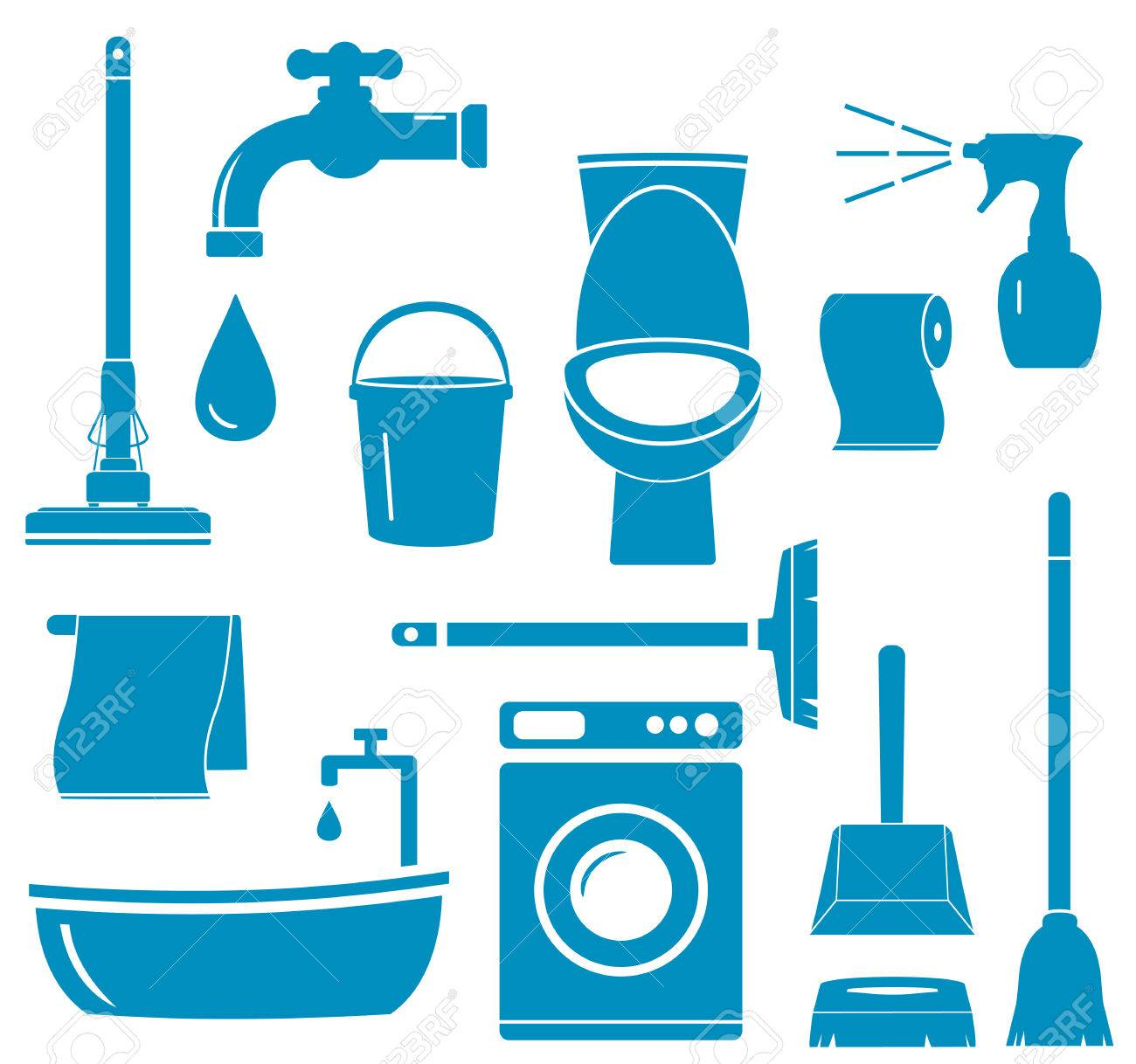 set blue isolated objects for home work cleaning Stock Vector - 22773591