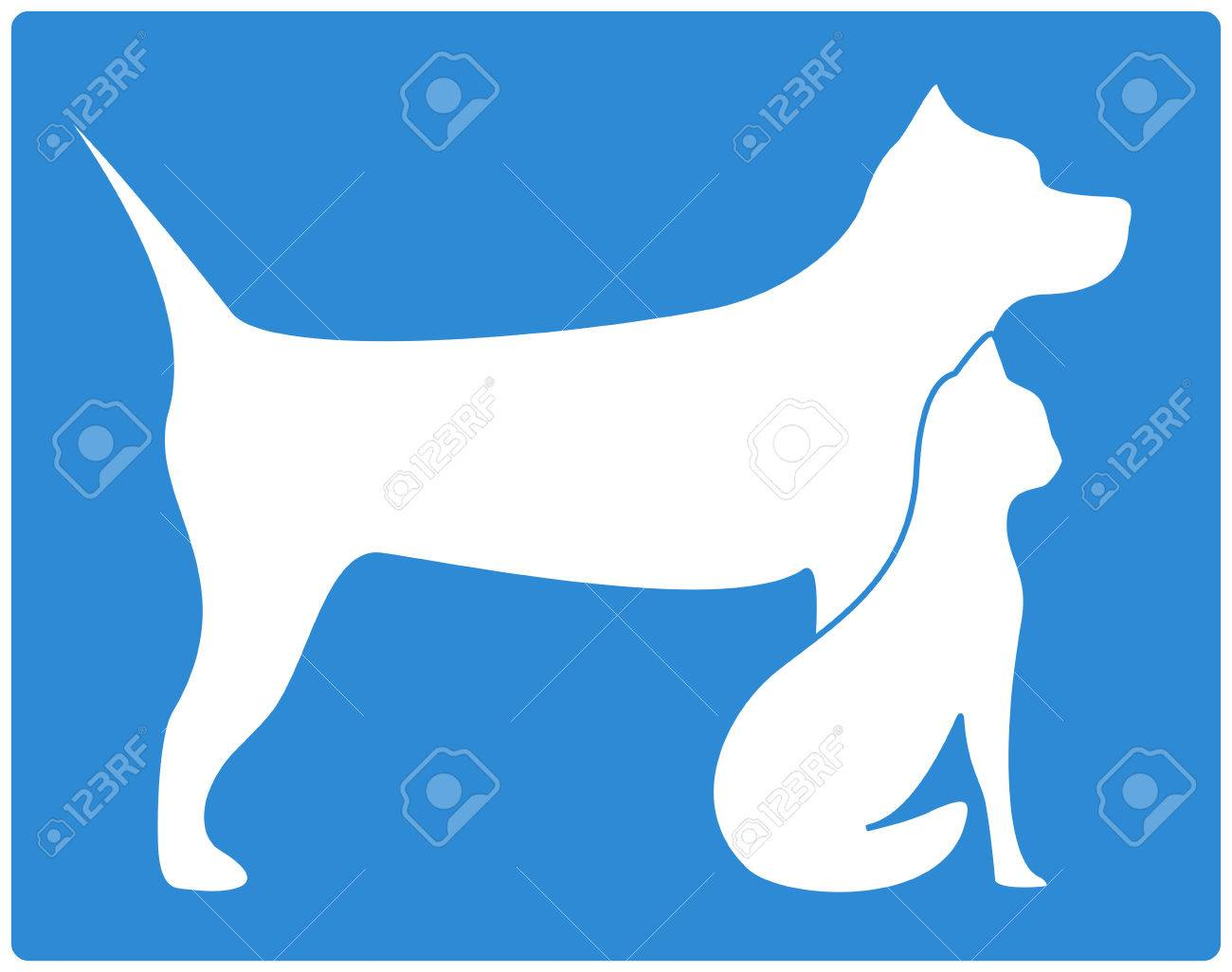 blue pet icon with dog and cat silhouette Foto de archivo - 24193809