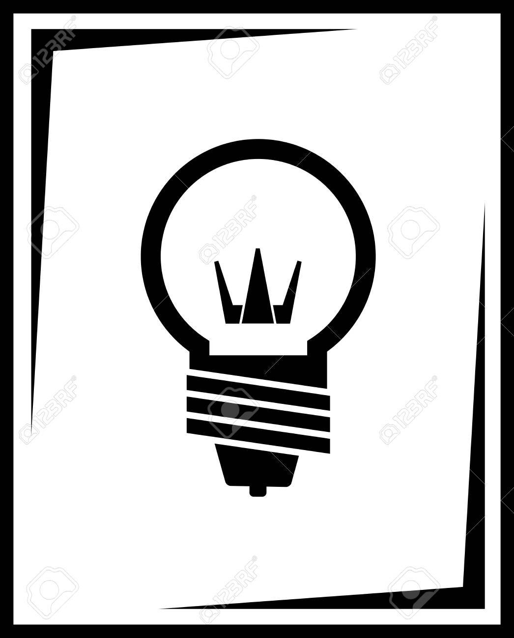icon with black light bulb silhouette Stock Vector - 24829626