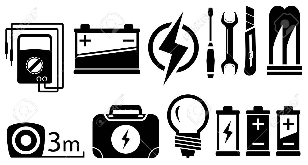 Set Schwarz Isoliert Elektrische Gegenstände Und Werkzeuge ...