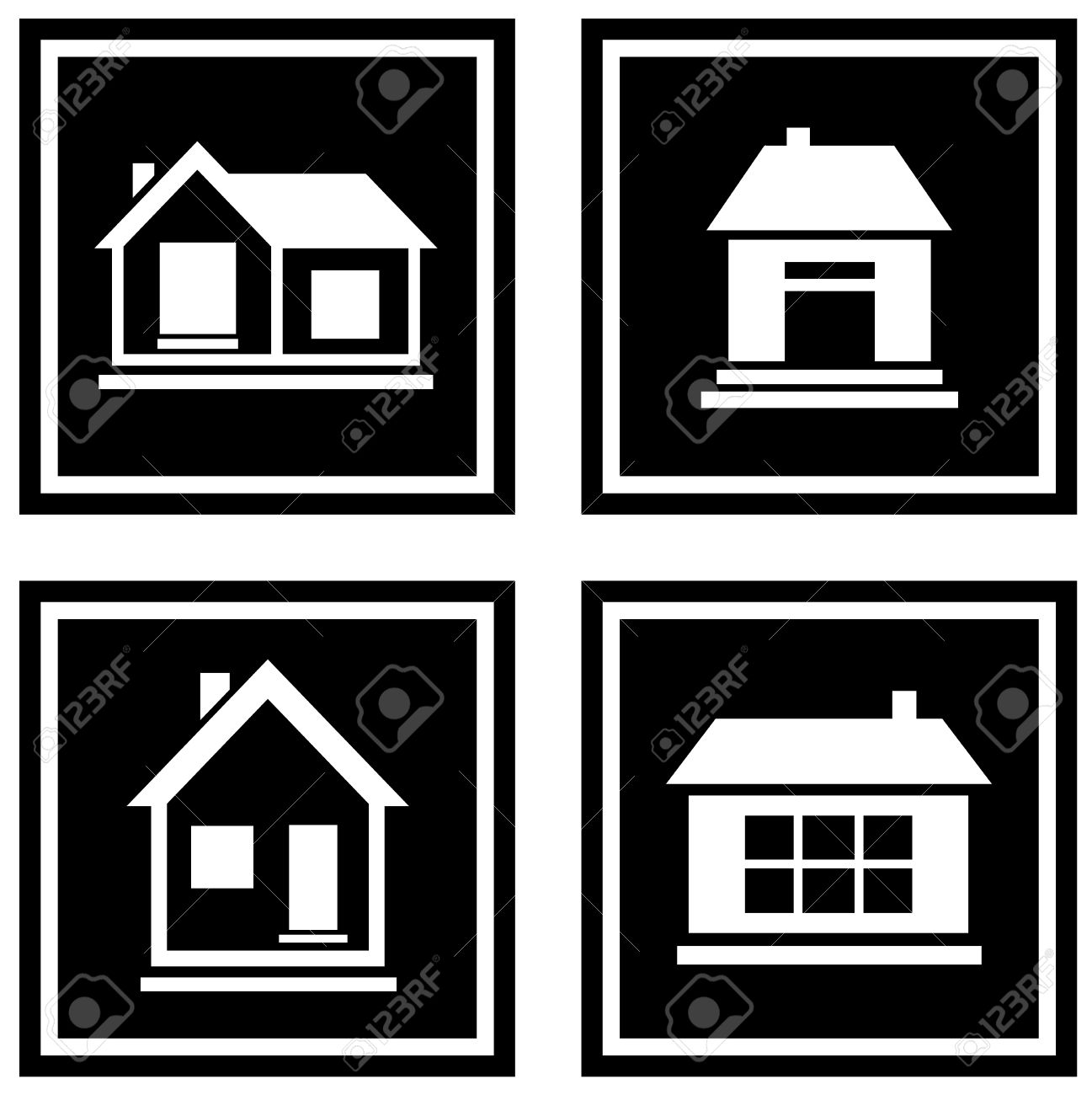 set white house silhouette on black icons royalty free cliparts
