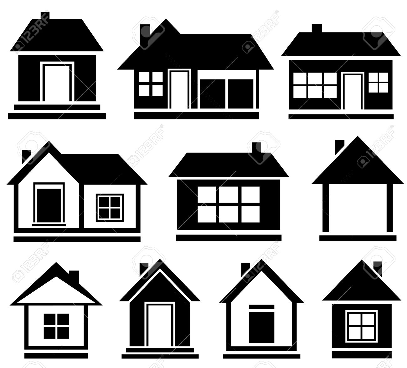 set cottage icons black isolated house silhouette royalty free rh 123rf com old house silhouette vector tree house silhouette vector