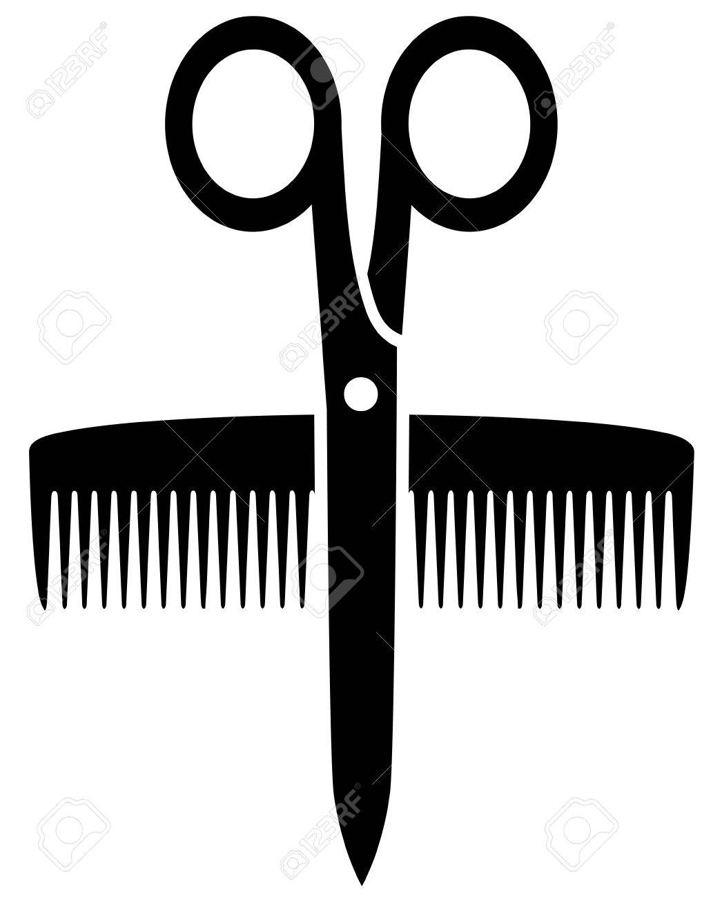 Isolated Icon With Scissors And Comb Silhouette Royalty Free ...