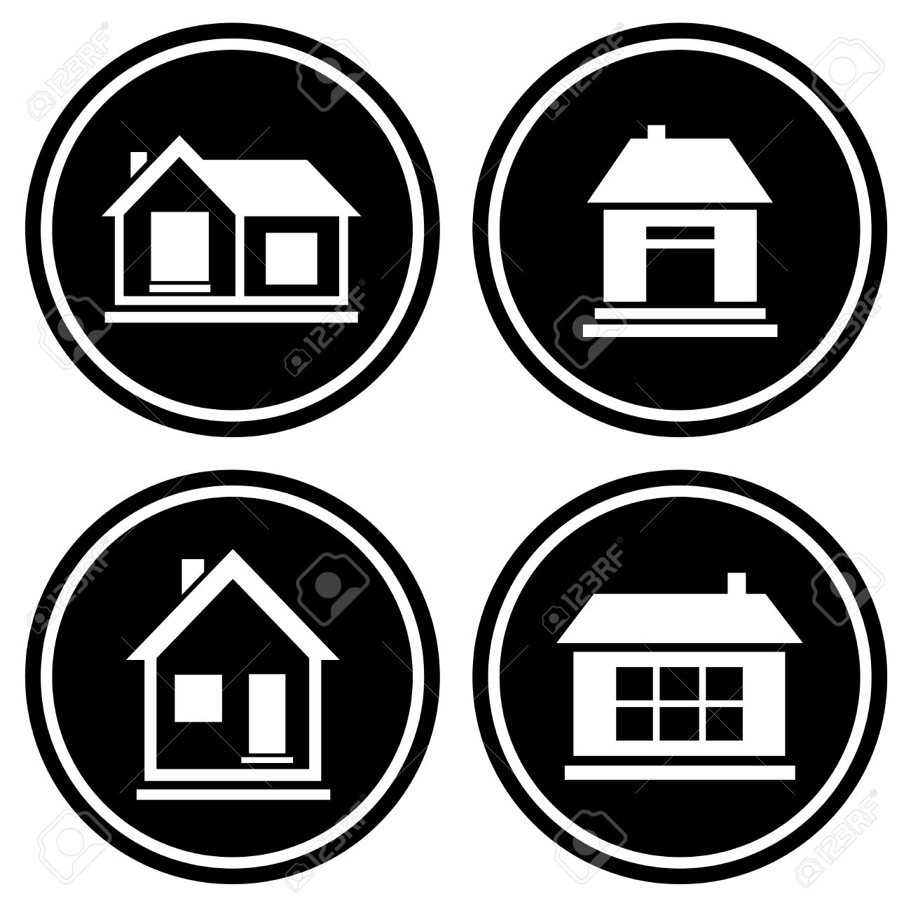set round icons with white house silhouette royalty free cliparts