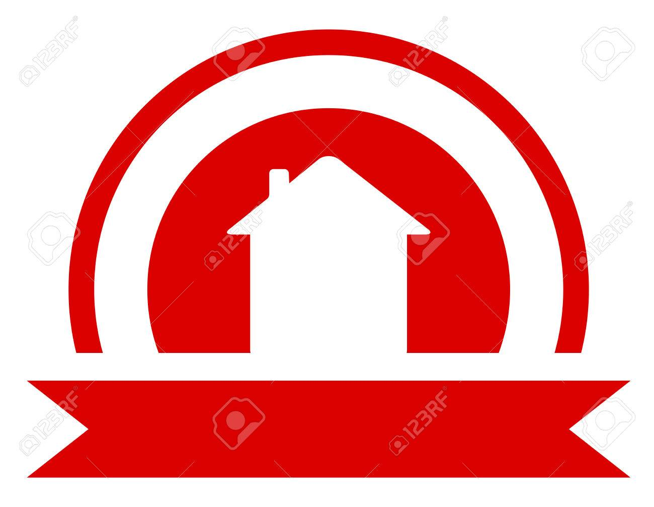 Red Real Estate Symbol With Sun And House Silhouette Royalty Free ...